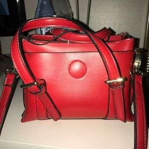 Red shoulder and hand bag faux leather mini bag
